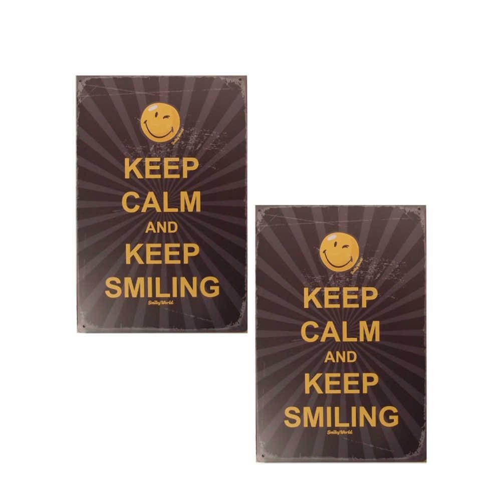 Conjunto 2 Placas Decorativas Keep Calm Preto e Amarelo em Metal - 30x20 cm