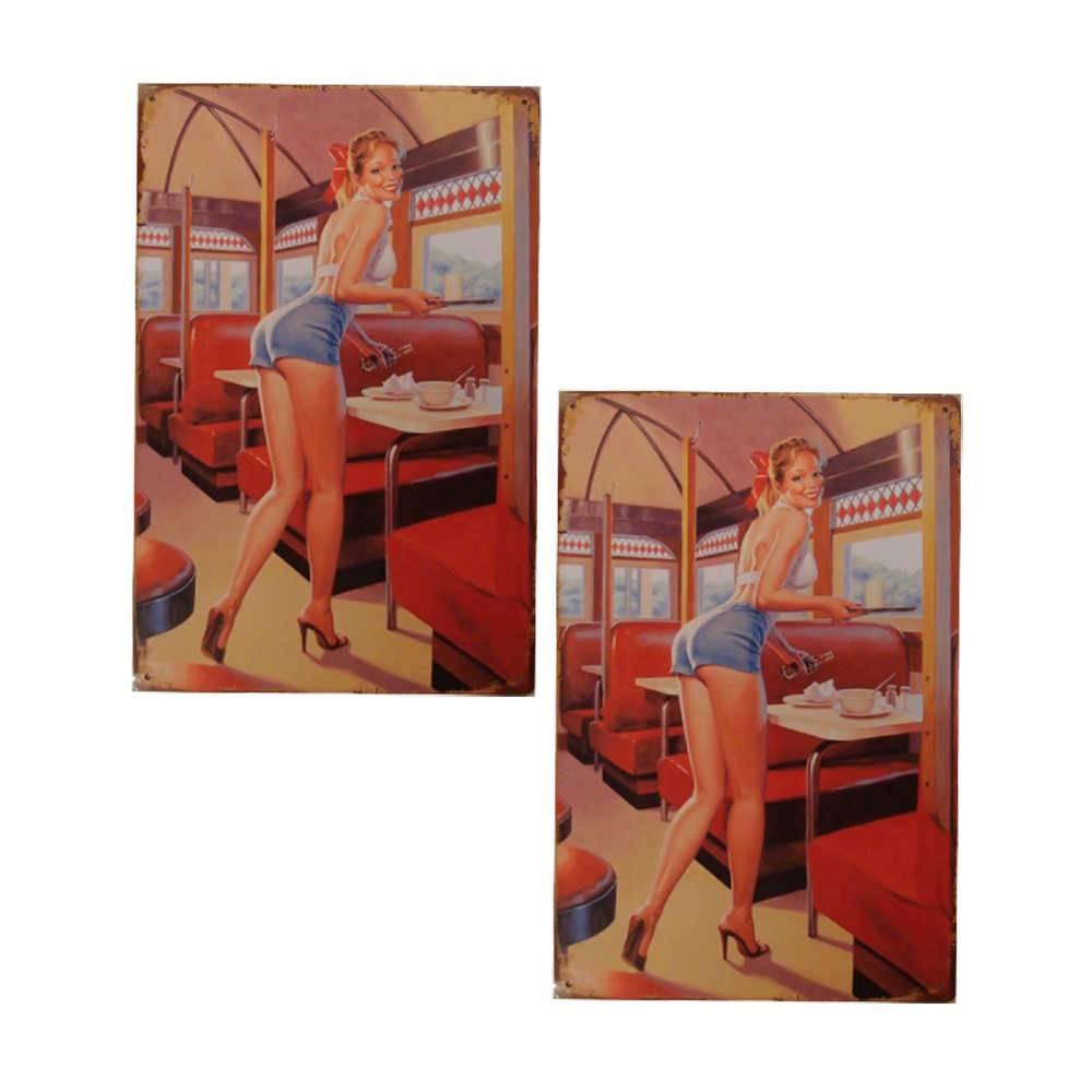 Conjunto 2 Placas Decorativas Pin Up Multicolorido em Metal - 30x20 cm