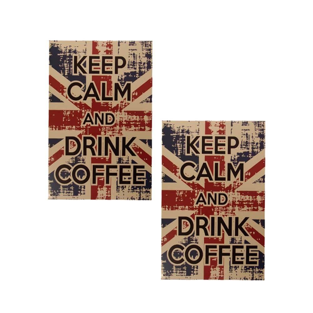Conjunto 2 Placas Drink Coffee em Metal - 30x20 cm