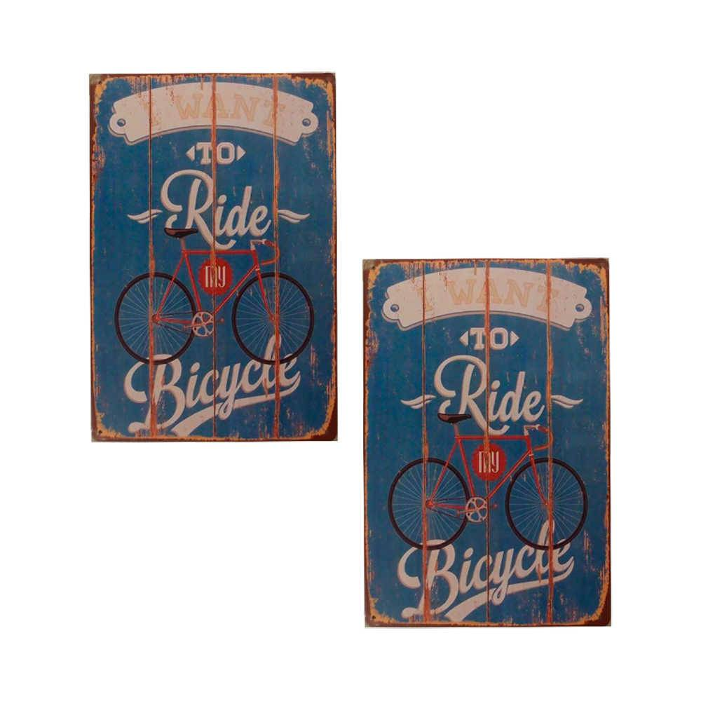 Conjunto 2 Placas I Want To Ride Azul em Metal - 30x20 cm