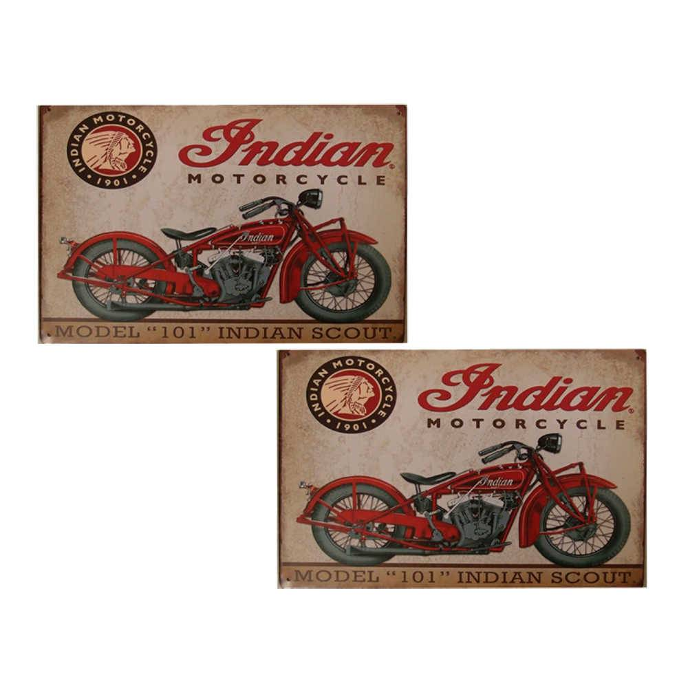 Conjunto 2 Placas Indian Motorcycle Model 101 em Metal - 30x20 cm