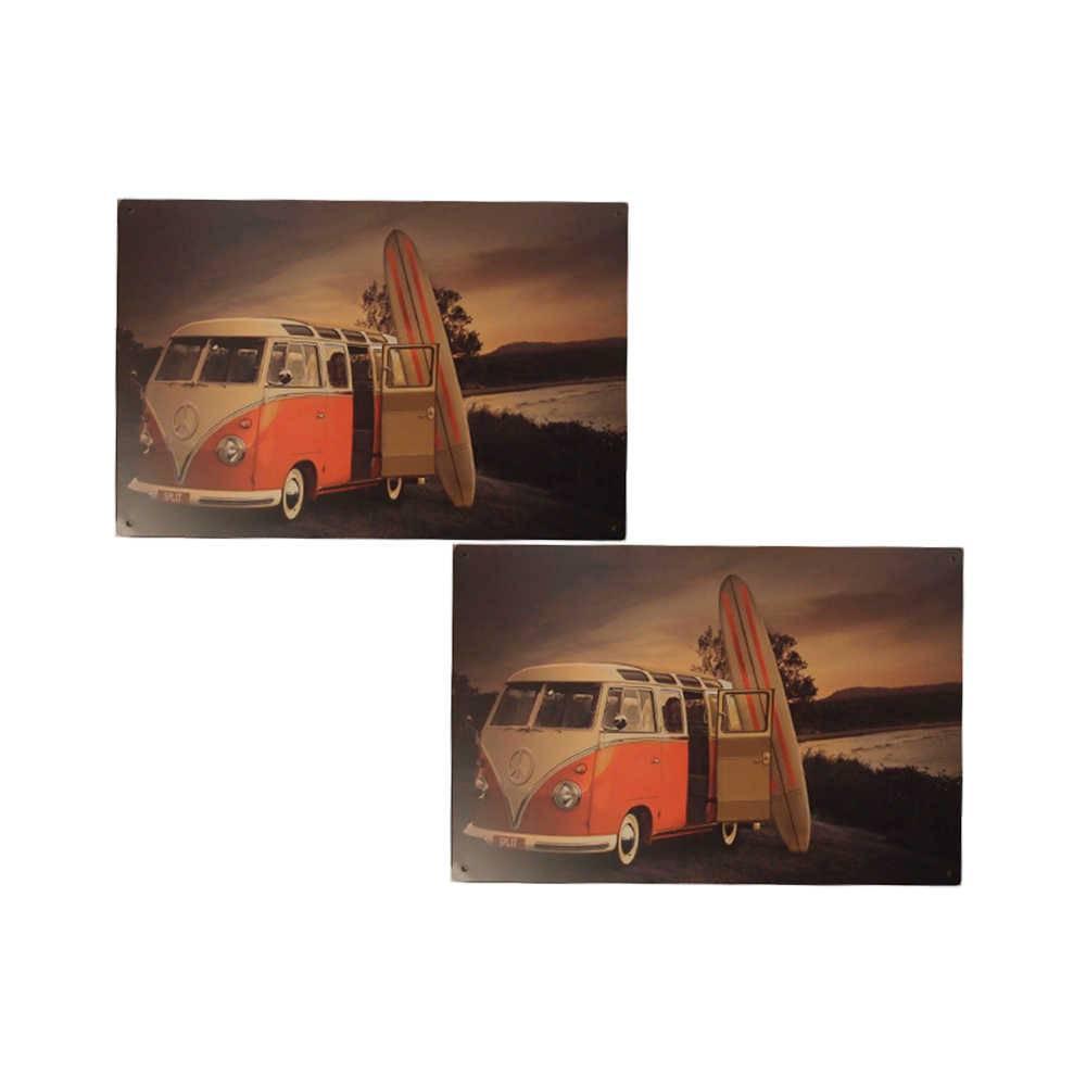 Conjunto 2 Placas Kombi Surf em Metal - 30x20 cm