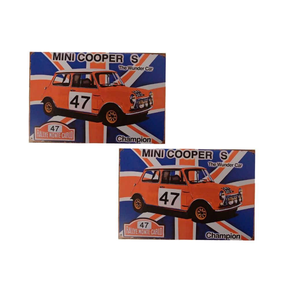 Conjunto 2 Placas Mini Cooper Azul e Vermelho em Metal - 30x20 cm