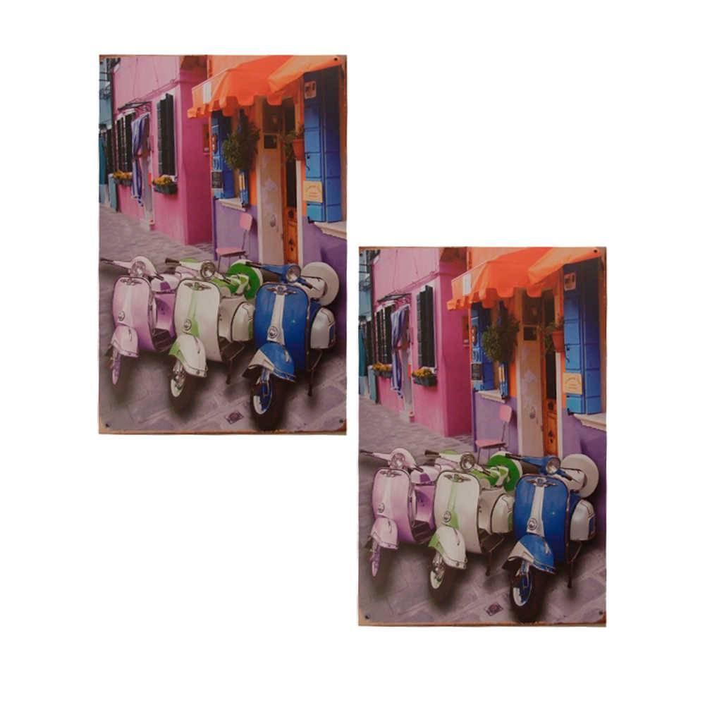 Conjunto 2 Placas Vespas Coloridas em Metal - 30x20 cm