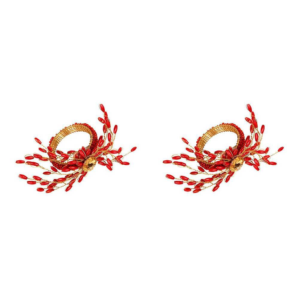 Conjunto 2 Porta-Guardanapos Flower Vermelho e Dourado em Metal - 4x3 cm