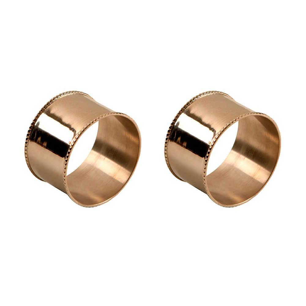 Conjunto 2 Porta-Guardanapos Lisos em Metal com Banho de Prata - 5x3 cm