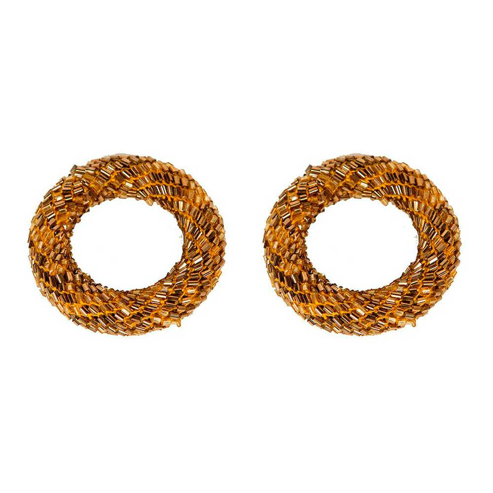 Conjunto 2 Porta-Guardanapos Ring Dourado em Metal com Vidrilhos - 6x2 cm