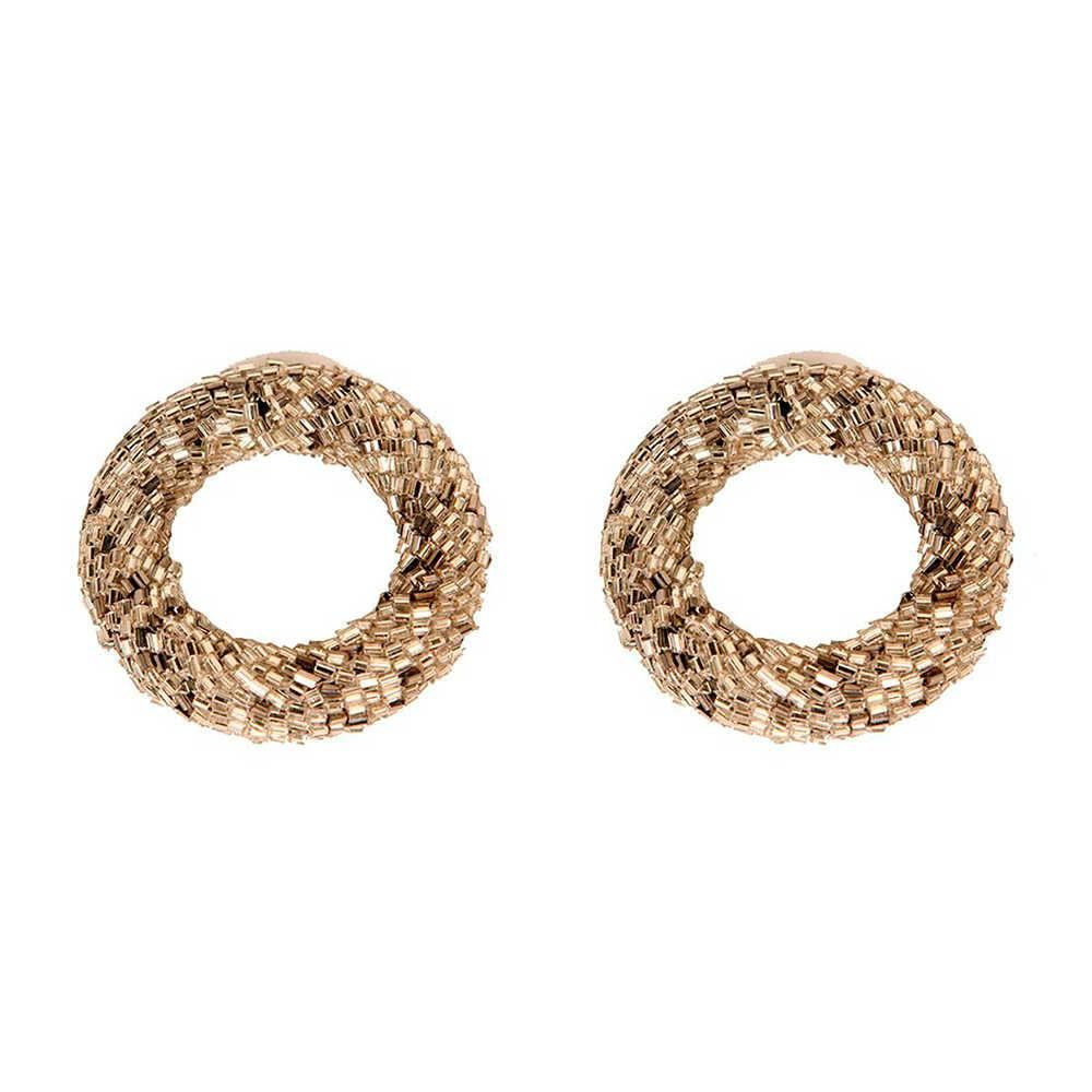 Conjunto 2 Porta-Guardanapos Ring Prata em Metal e Vidrilho - 6x1 cm