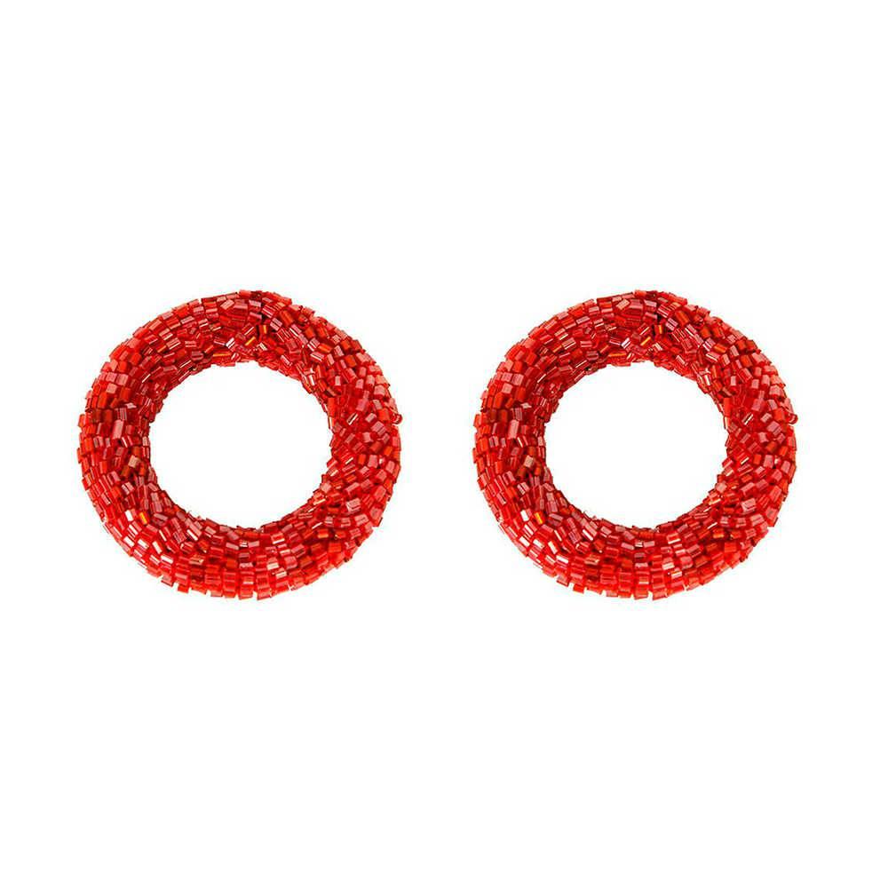 Conjunto 2 Porta-Guardanapos Ring Red em Metal com Acabamento em Vidrilhos - 6x2 cm