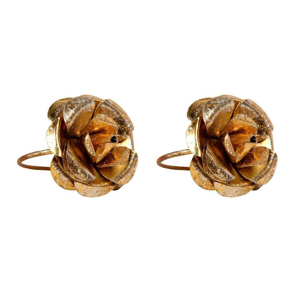 Conjunto 2 Porta-Guardanapos Rose Dourado em Metal - 5x4 cm
