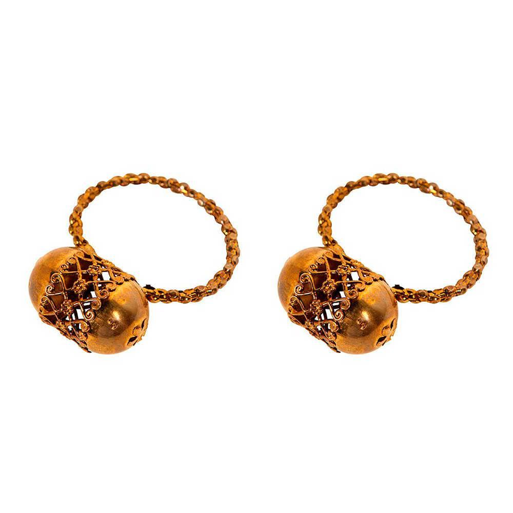 Conjunto 2 Porta-Guardanapos Snood Dourado em Metal - 5x2 cm