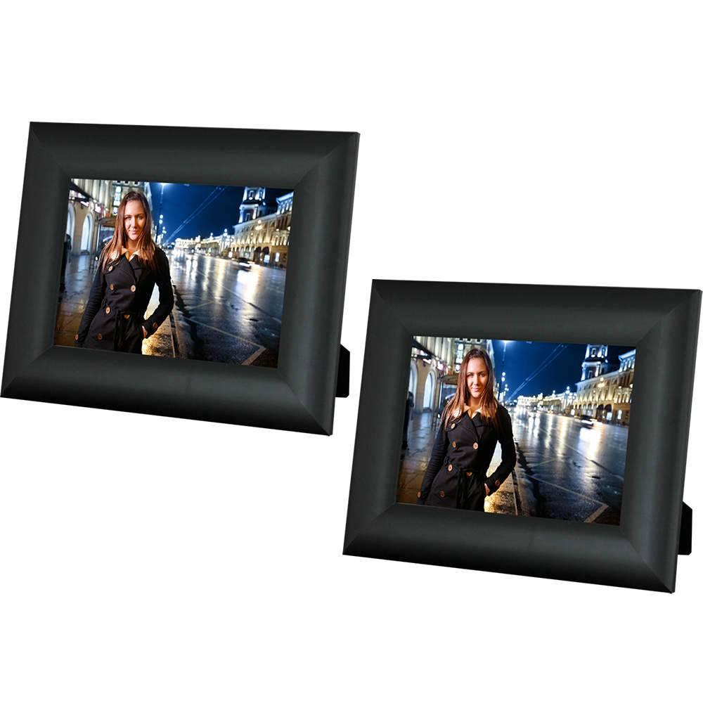 Conjunto 2 Porta-Retrato Moldura Arrendodada Preta- Foto 10x15 cm - Em MDF e Vidro - 19,5x14,5 cm