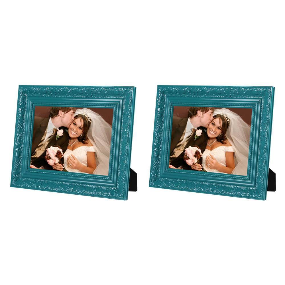 Conjunto 2 Porta-Retratos - 13x18 cm - Verde com Moldura Trabalhada em Madeira - 22x17 cm