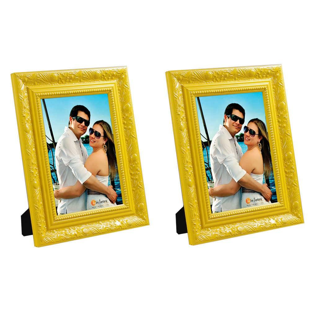 Conjunto 2 Porta-Retratos Amarelos - 10x15 cm - com Moldura Trabalhada em Madeira - 19x14 cm