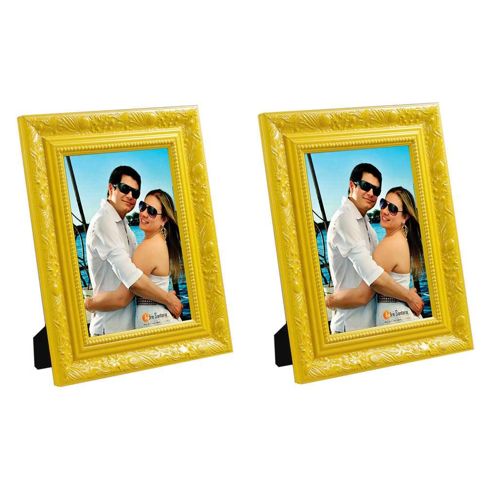 Conjunto 2 Porta-Retratos Amarelos - 13x18 cm - com Moldura Trabalhada em Madeira - 22x17 cm