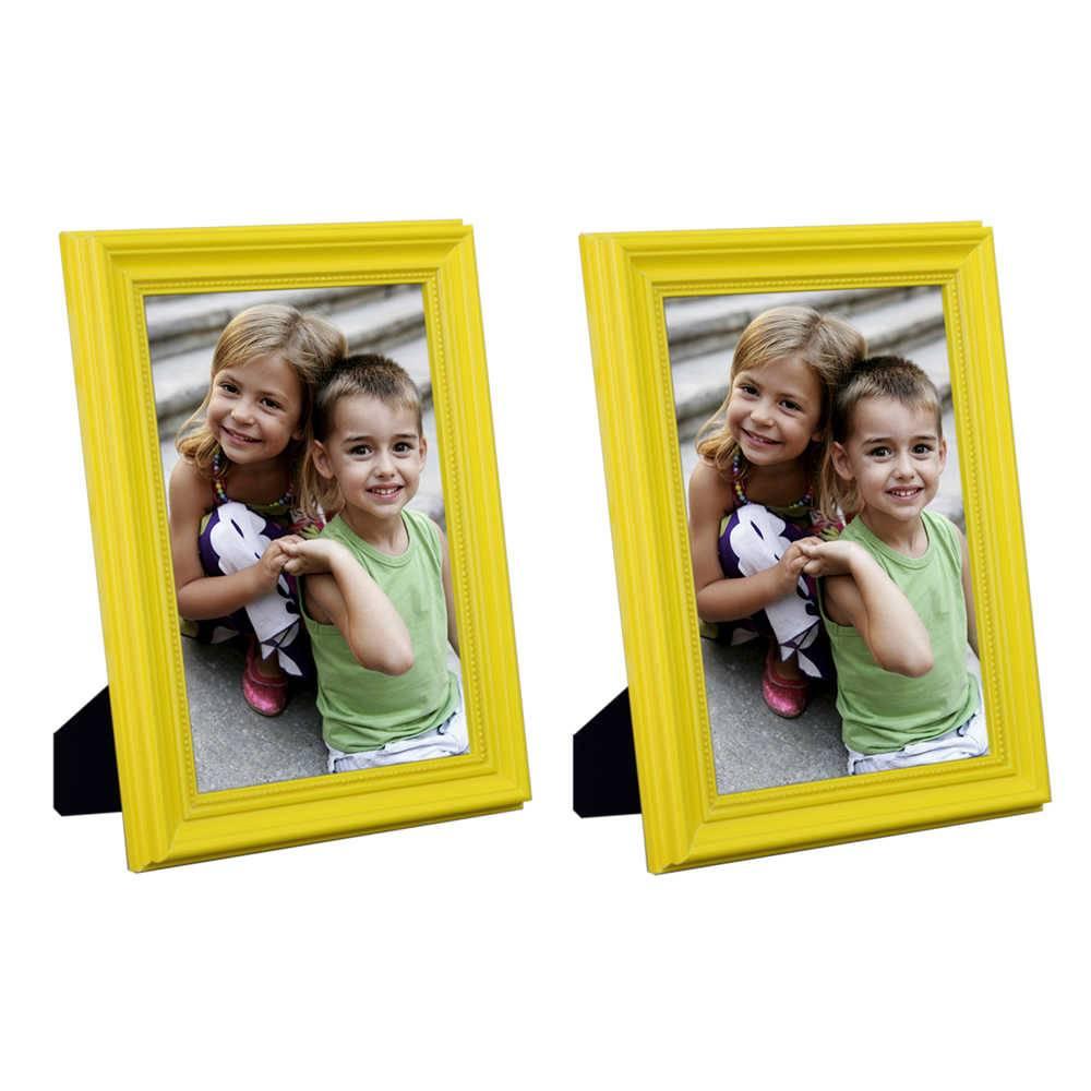 Conjunto 2 Porta-Retratos Amarelos - 15x21 cm - em Madeira Laqueada - 24x18 cm