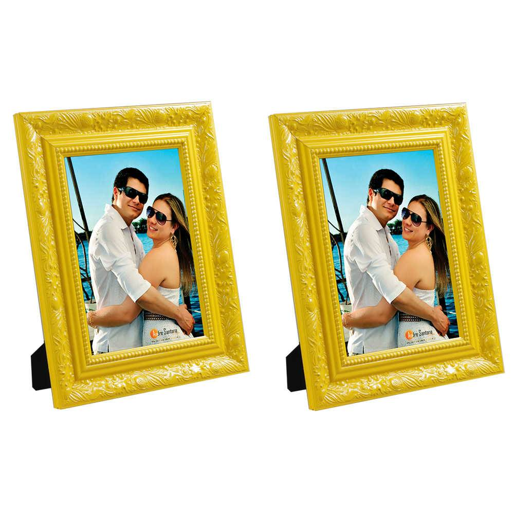 Conjunto 2 Porta-Retratos Amarelos - 15x21 cm - com Moldura Trabalhada em Madeira - 25x19 cm