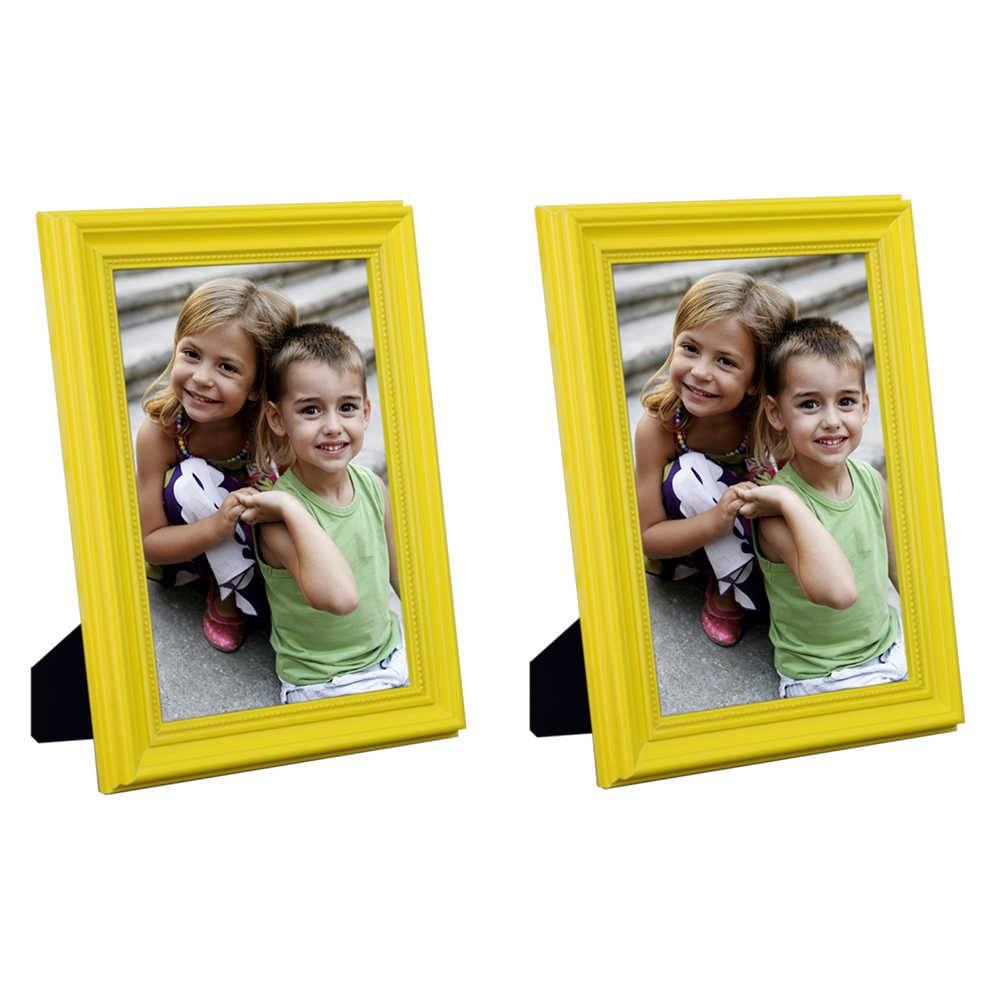 Conjunto 2 Porta-Retratos Amarelos - 20x25 cm - em Madeira Laqueada - 28x23 cm
