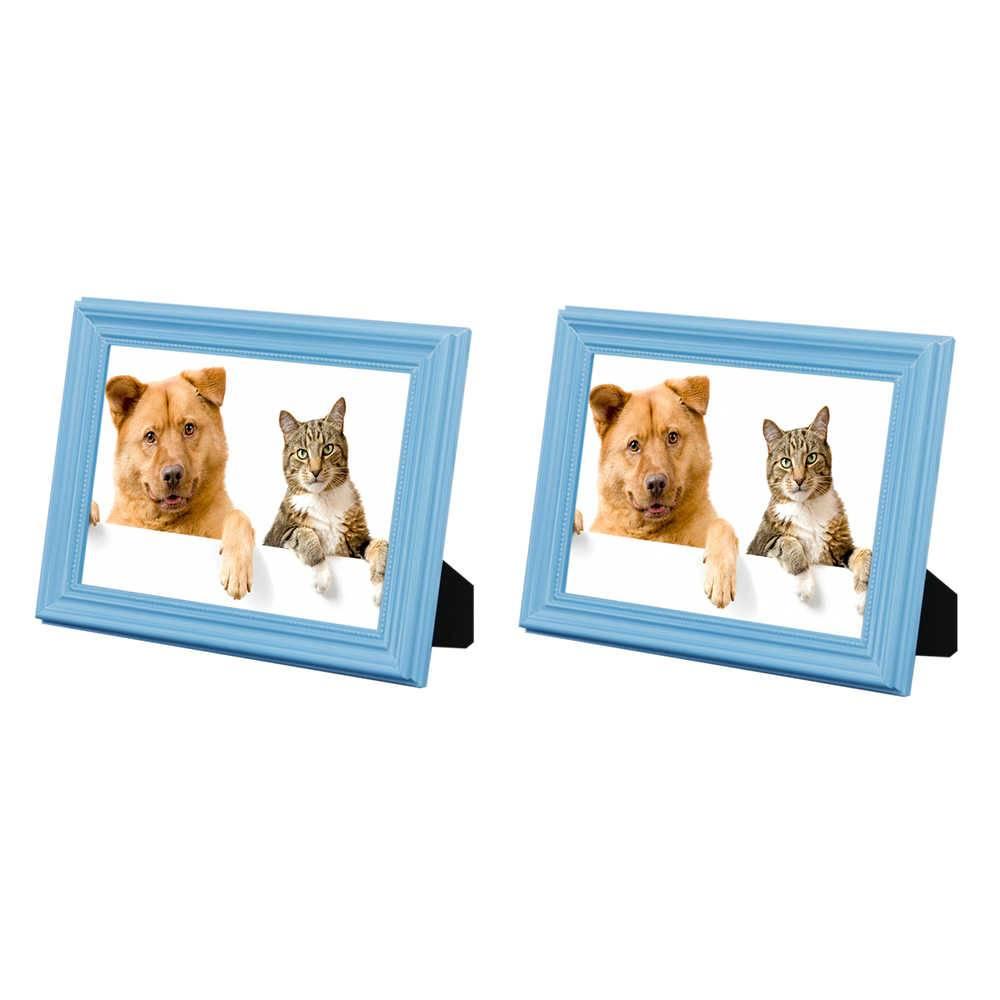 Conjunto 2 Porta-Retratos Azuis - 13x18 cm - em Madeira Laqueada - 21x16 cm