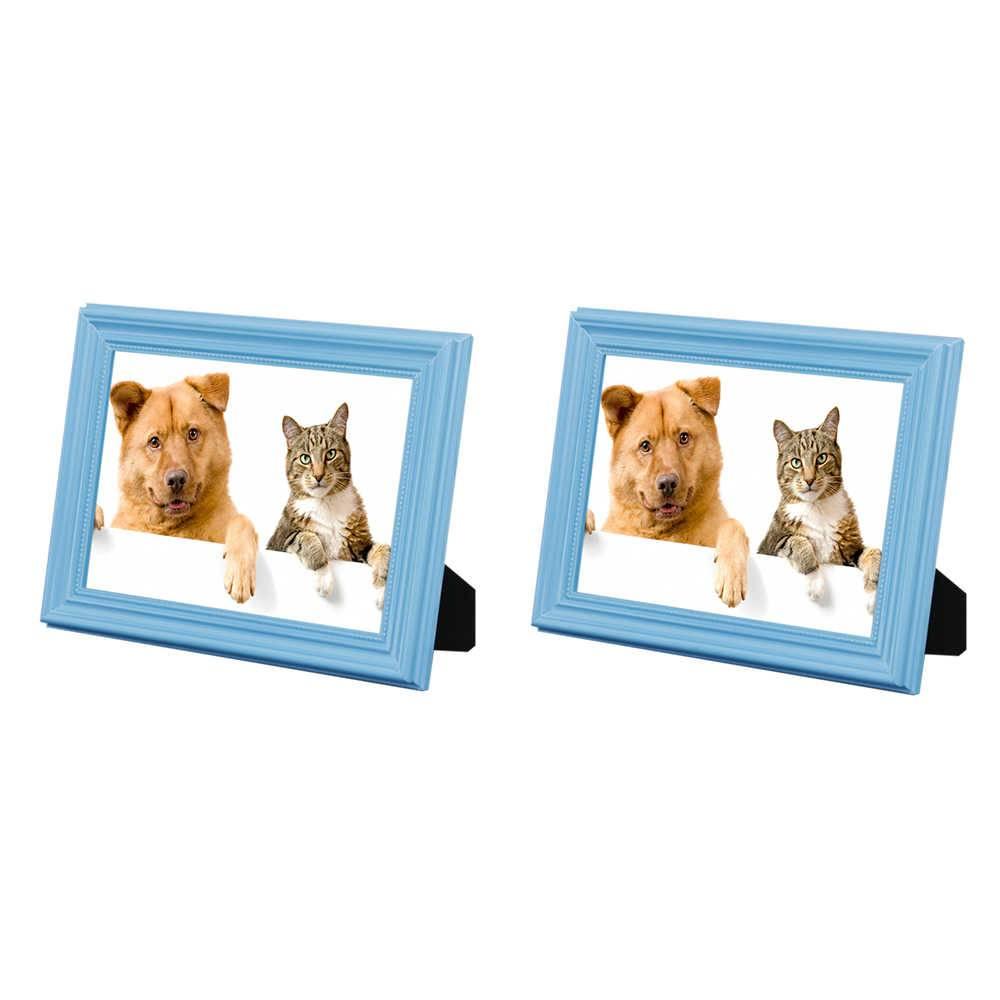 Conjunto 2 Porta-Retratos Azuis - 15x21 cm - em Madeira Laqueada - 24x18 cm