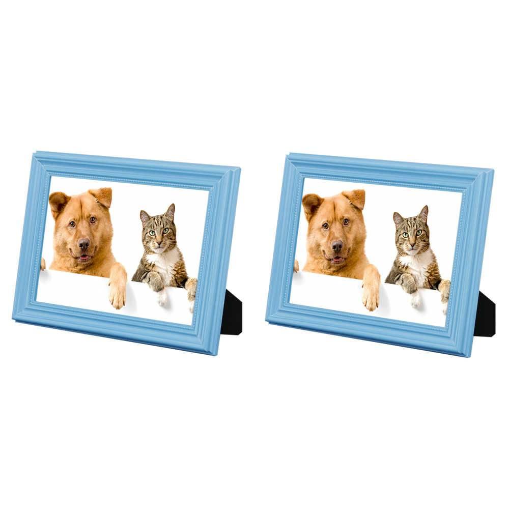 Conjunto 2 Porta-Retratos Azuis - 20x25 cm - em Madeira Laqueada - 28x23 cm