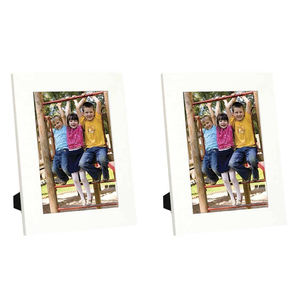 Conjunto 2 Porta-Retratos Basic - Foto 20x30 cm - Brancos em Madeira - 33x23 cm