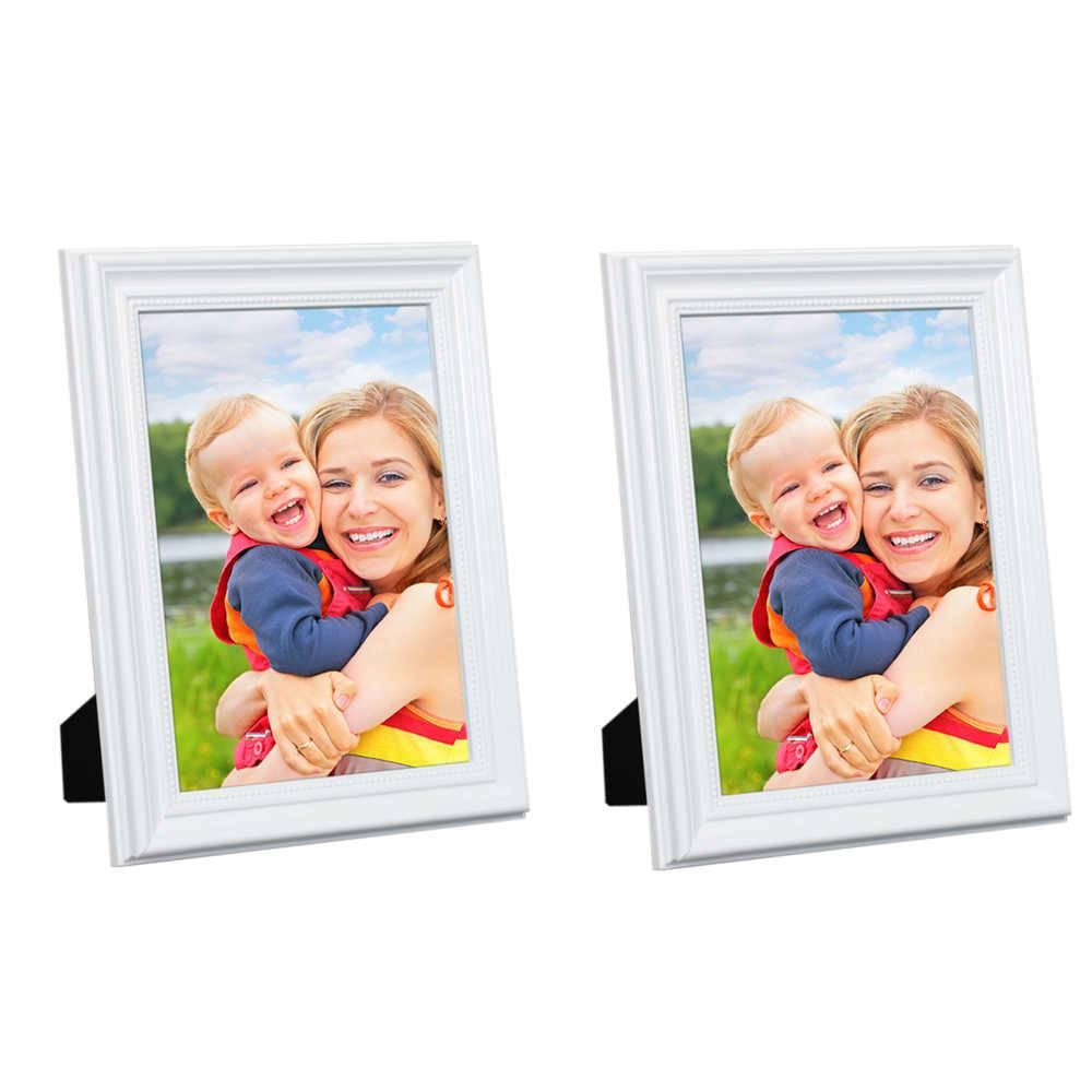 Conjunto 2 Porta-Retratos Brancos - 13x18 cm - em Madeira Laqueada - 21x16 cm