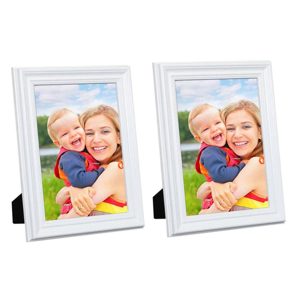 Conjunto 2 Porta-Retratos Brancos - 15x21 cm - em Madeira Laqueada - 24x18 cm