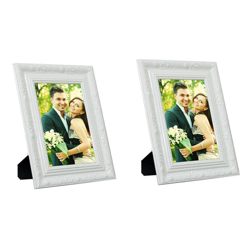 Conjunto 2 Porta-Retratos Brancos com Moldura Trabalhada - 13x18 - em Madeira - 22x17 cm