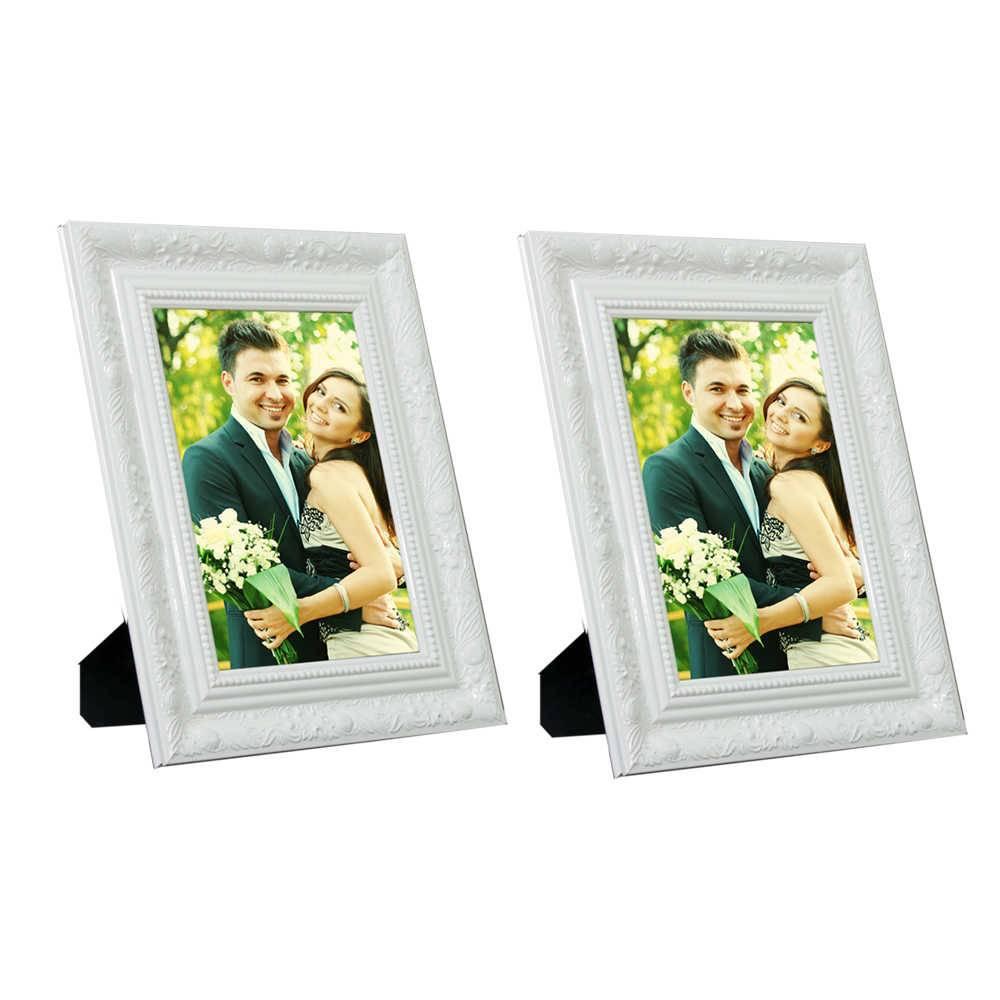 Conjunto 2 Porta-Retratos Brancos com Moldura Trabalhada - 15x21 - em Madeira - 25x19 cm
