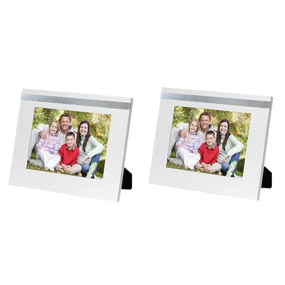 Conjunto 2 Porta-Retratos Cindy - 10x15 cm - Brancos em Madeira - 19x14 cm