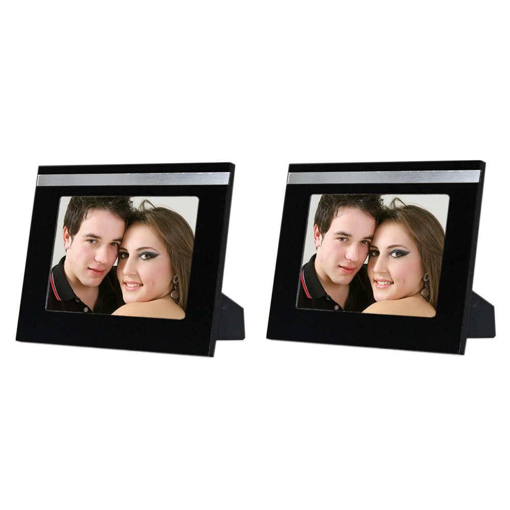 Conjunto 2 Porta-Retratos Cindy - 15x21 cm - Pretos em Madeira - 25x19 cm
