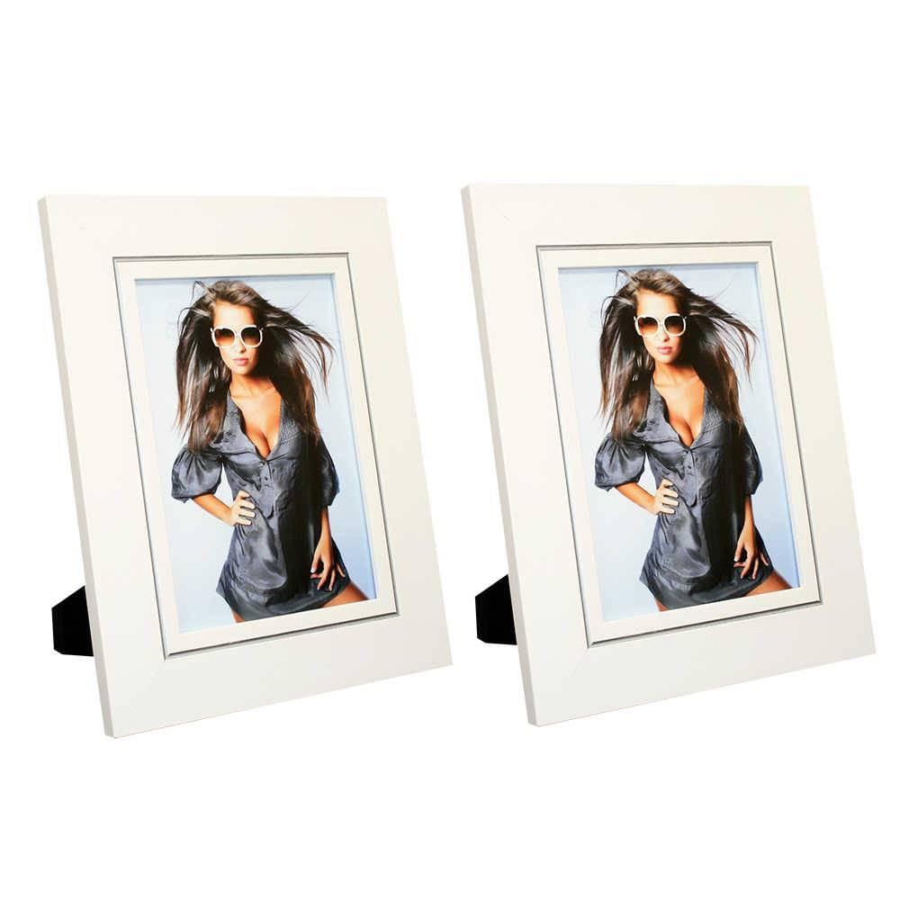 Conjunto 2 Porta-Retratos Clean Branco com Friso Prata - 20x30 - em Madeira - 34x24 cm