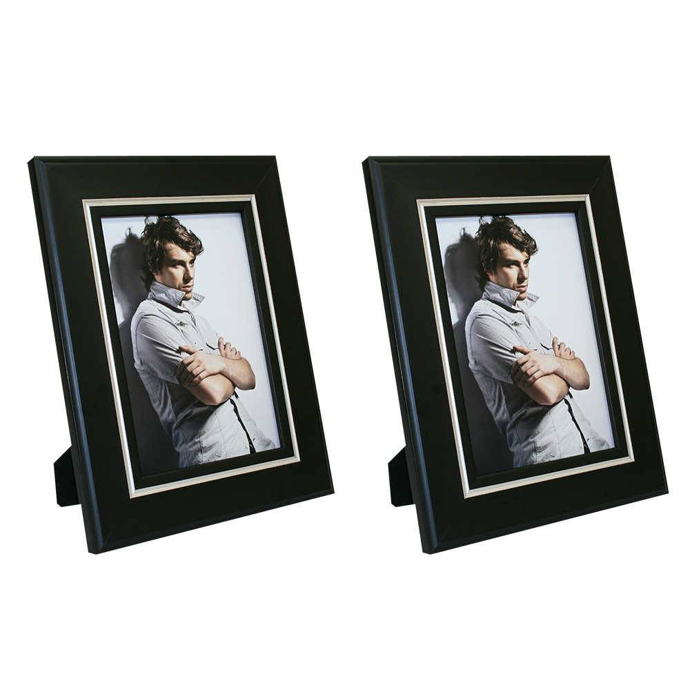 Conjunto 2 Porta-Retratos Clean Pretos com Friso Prata - 20x30 - em Madeira - 34x24 cm
