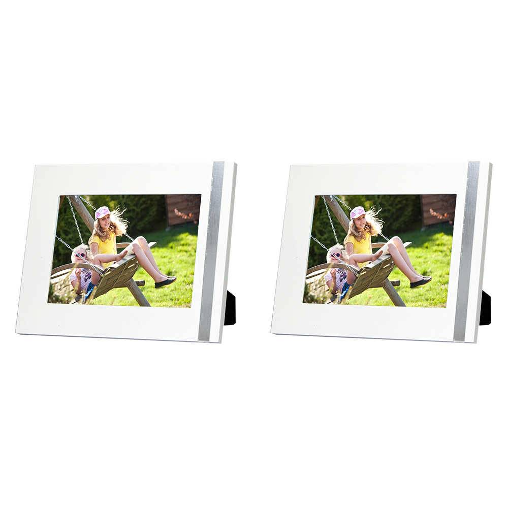 Conjunto 2 Porta-Retratos Gracie - 10x15 cm - Brancos em Madeira - 19x14 cm