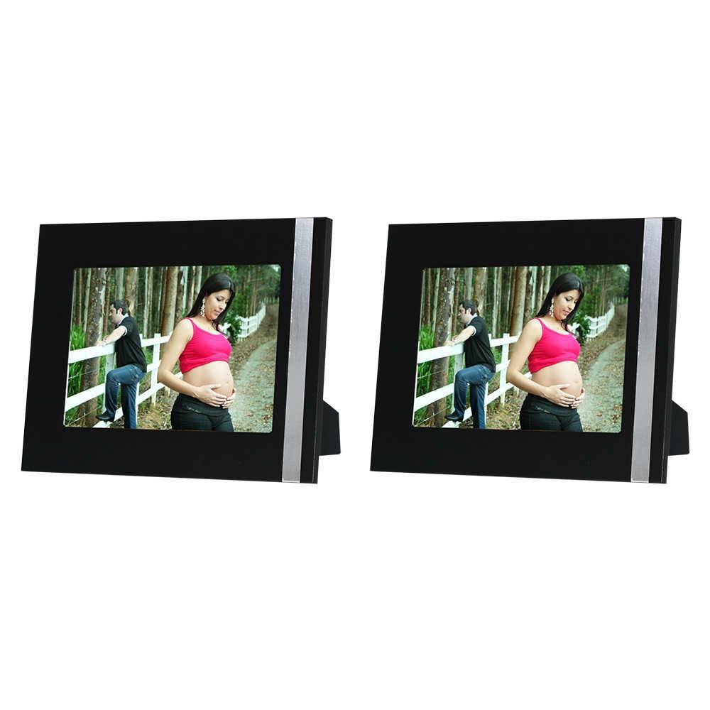 Conjunto 2 Porta-Retratos Gracie - 10x15 cm - Pretos em Madeira - 19x14 cm
