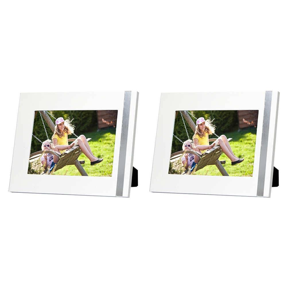 Conjunto 2 Porta-Retratos Gracie - 15x21 cm - Brancos em Madeira - 25x19 cm