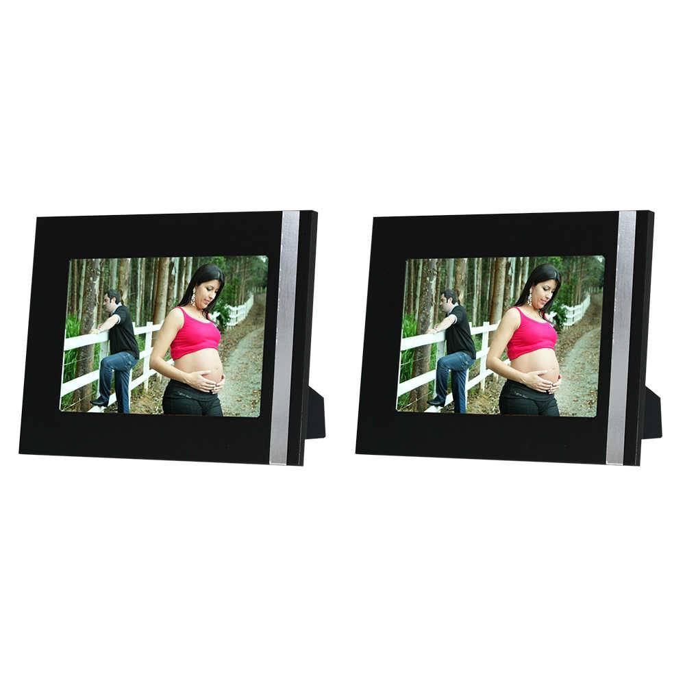 Conjunto 2 Porta-Retratos Gracie - 15x21 cm - Pretos em Madeira - 25x19 cm