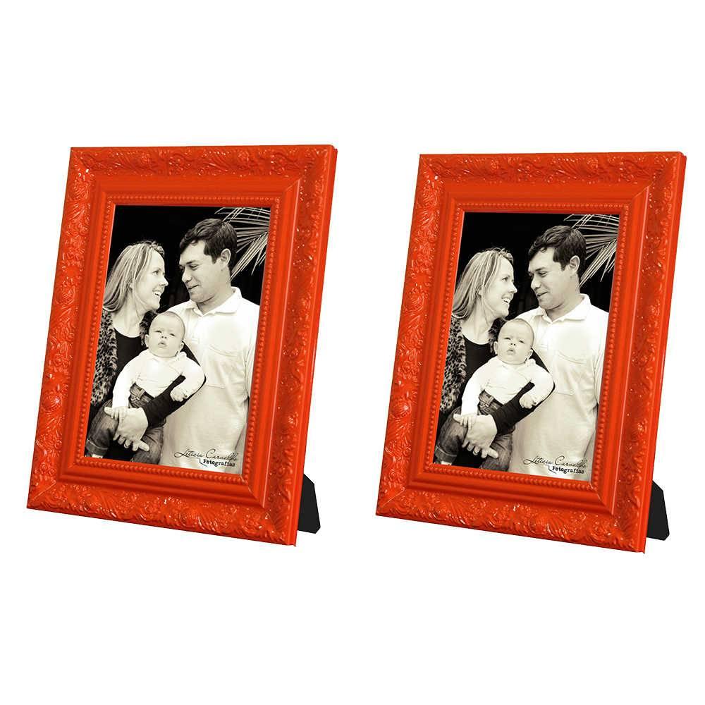 Conjunto 2 Porta-Retratos Laranja - 10x15 cm - com Moldura Trabalhada em Madeira - 19x14 cm