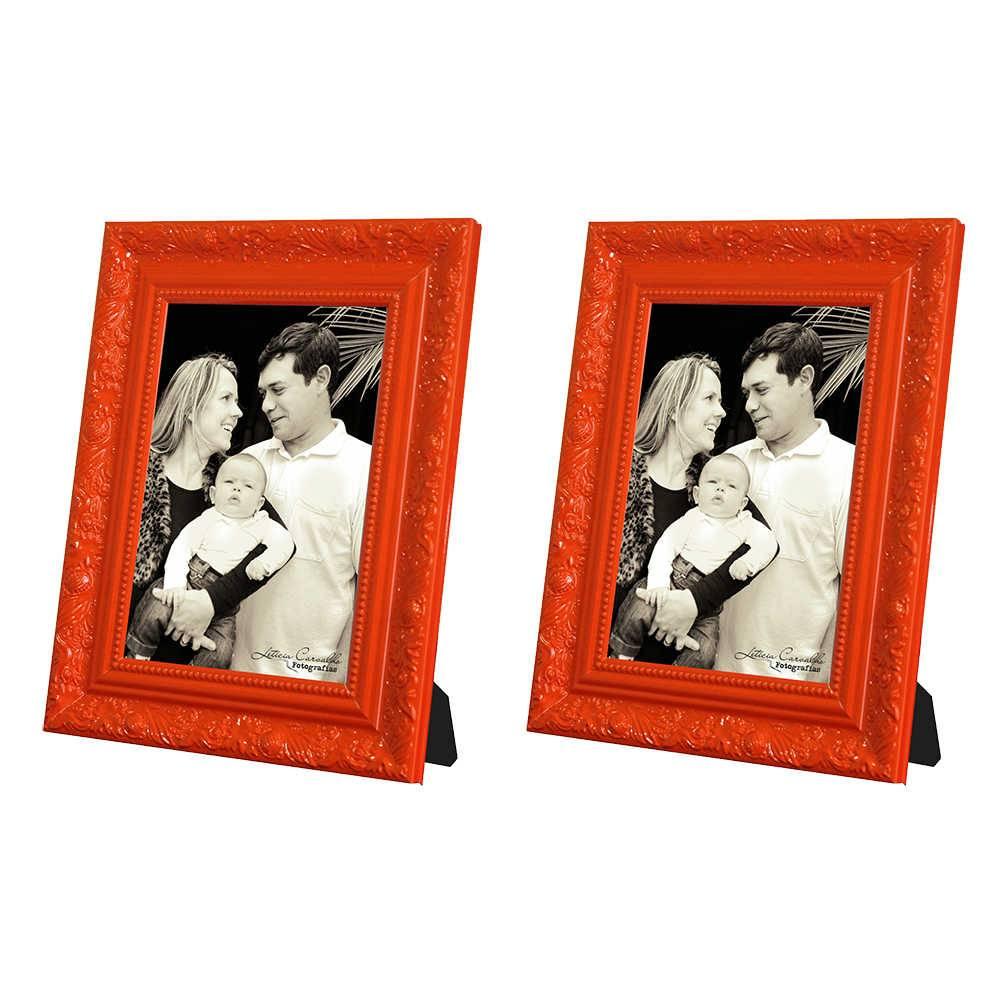 Conjunto 2 Porta-Retratos Laranja - 13x18 cm - com Moldura Trabalhada em Madeira - 22x17 cm