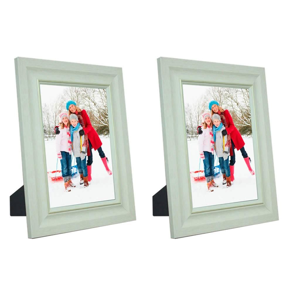 Conjunto 2 Porta-Retratos Marfim Com Friso Dourado - Foto 15x21 cm - Em MDF e Vidro - 25x19 cm