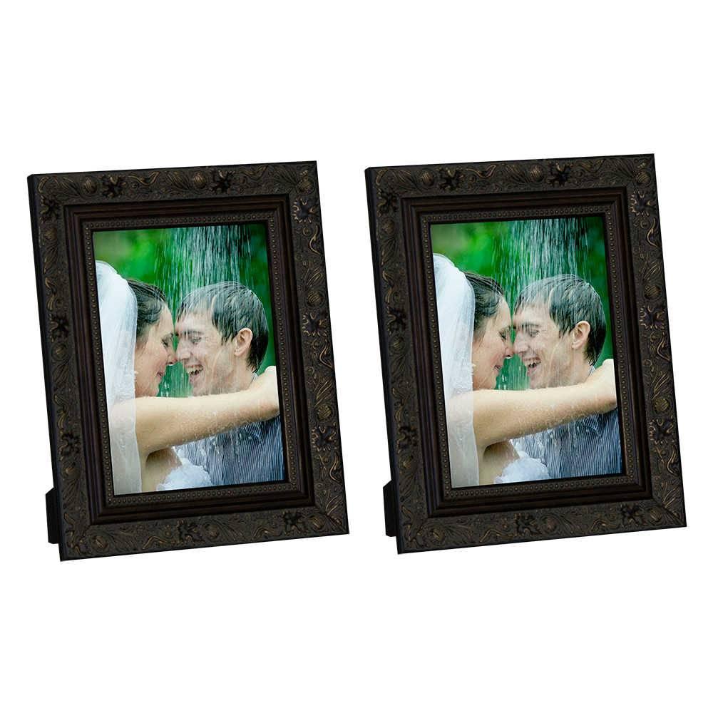 Conjunto 2 Porta-Retratos Marrom com Moldura Trabalhada - 10x15 cm - em Madeira - 19x14 cm
