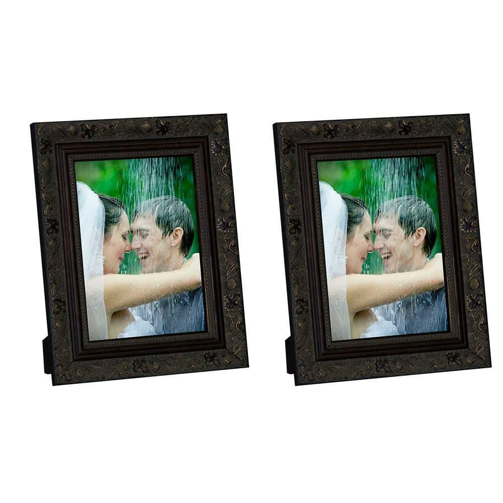 Conjunto 2 Porta-Retratos Marrom com Moldura Trabalhada - 13x18 cm - em Madeira - 22x17 cm
