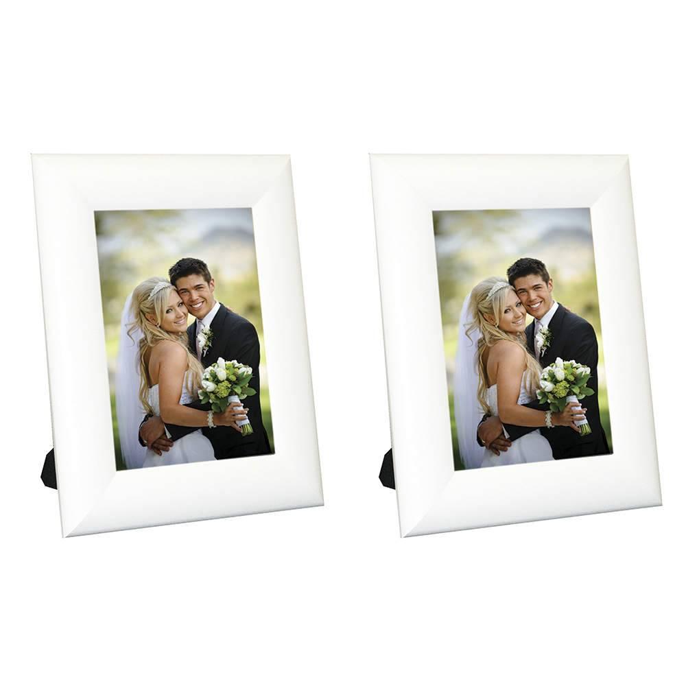 Conjunto 2 Porta-Retratos Moldura Arrendodada Branca - Foto 10x15 cm - Em MDF e Vidro - 19,5x14,5 cm
