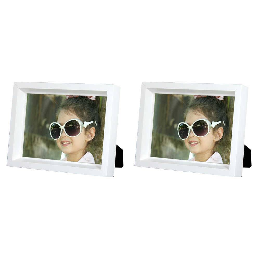 Conjunto 2 Porta-Retratos Moldura Profunda Branca - Foto 10x15 cm - Em MDF e Vidro - 17,5x12,5 cm