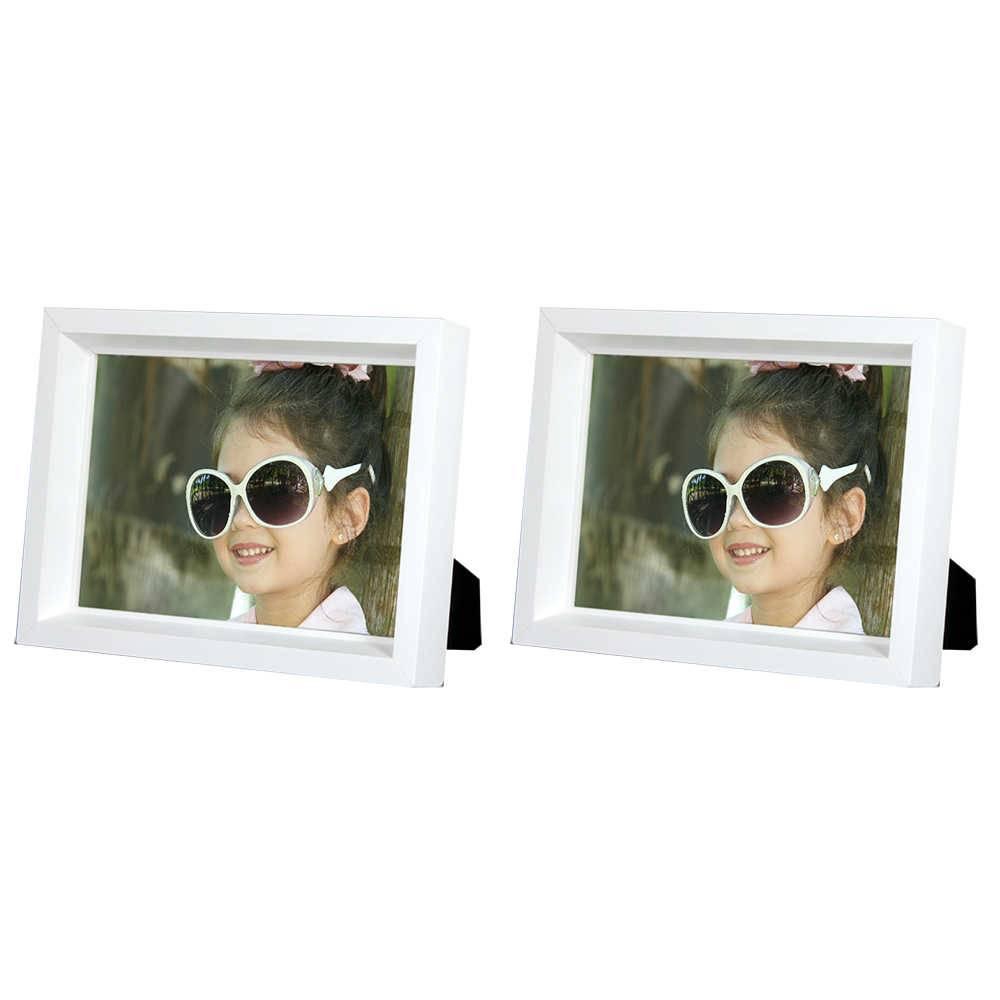 Conjunto 2 Porta-Retratos Moldura Profunda Branca - Foto 13x18 cm - Em MDF e Vidro - 20,5x15,5 cm