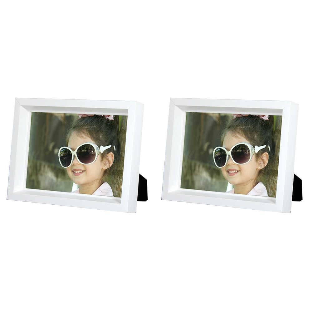 Conjunto 2 Porta-Retratos Moldura Profunda Branca - Foto 15x21 cm - Em MDF e Vidro - 23,5x17,5 cm