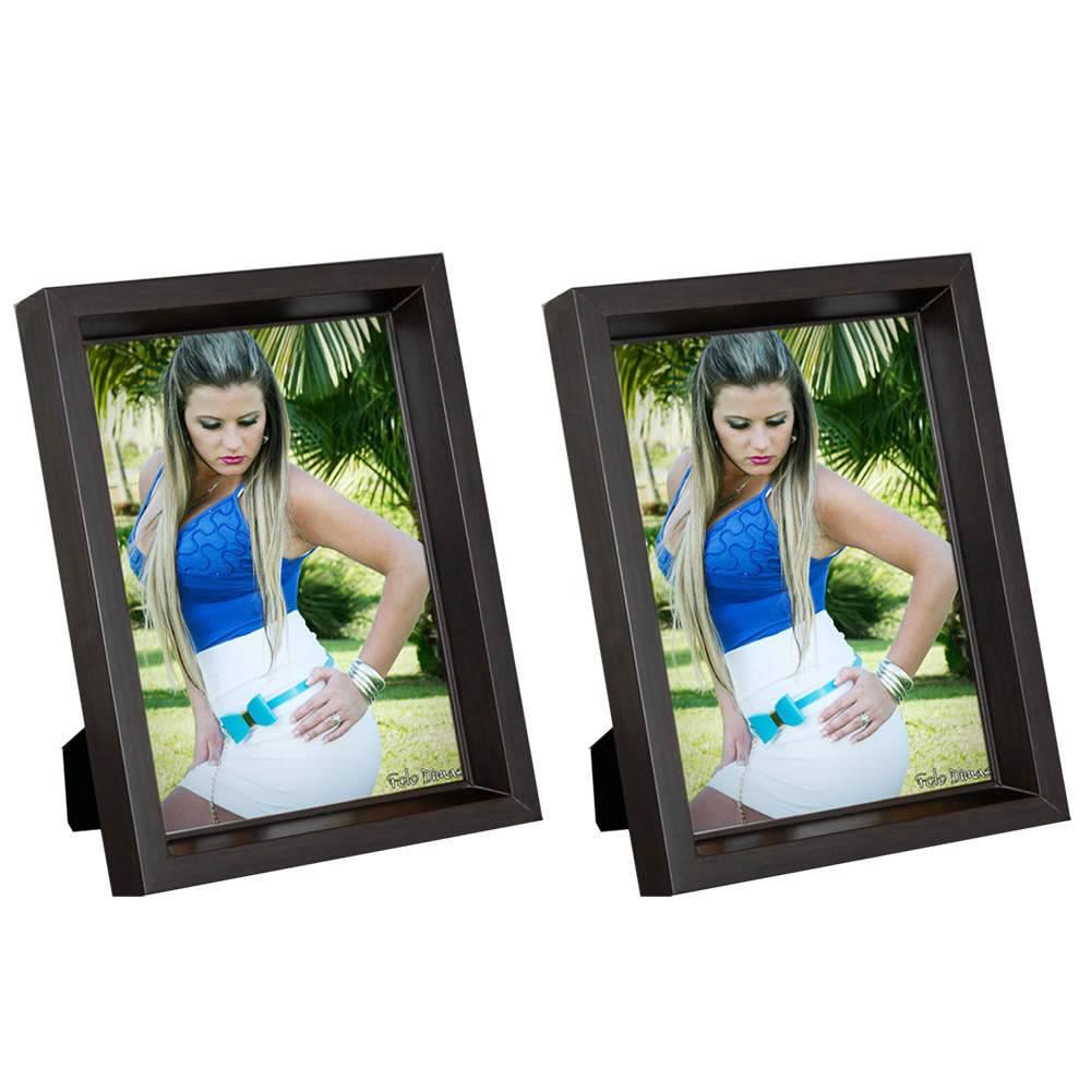 Conjunto 2 Porta-Retratos Moldura profunda Marrom - Foto 13x18 cm - Em MDF e Vidro - 20,5x15,5 cm
