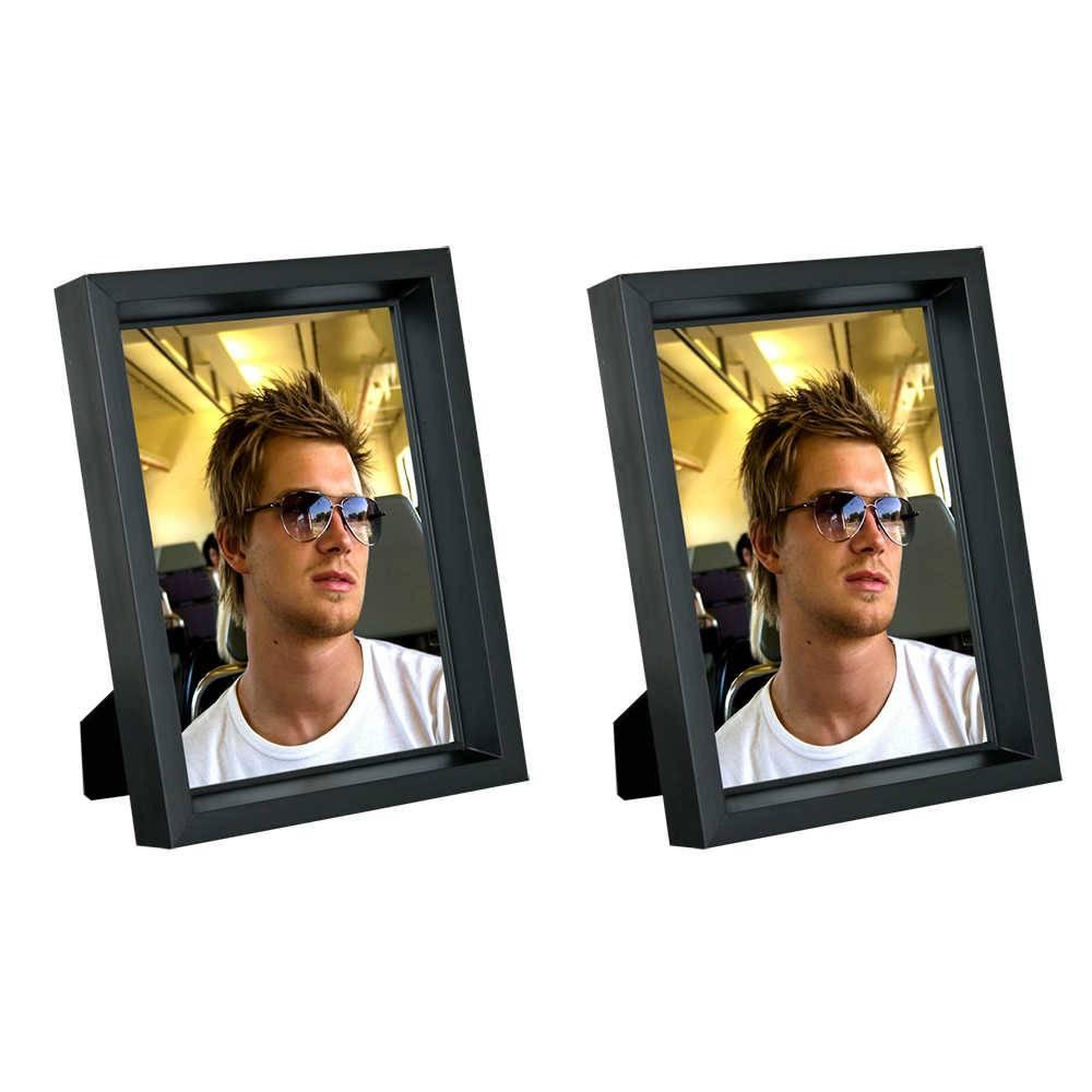 Conjunto 2 Porta-Retratos Moldura Profunda Preta - Foto 10x15 cm - Em MDF e Vidro - 17,5x12,5 cm