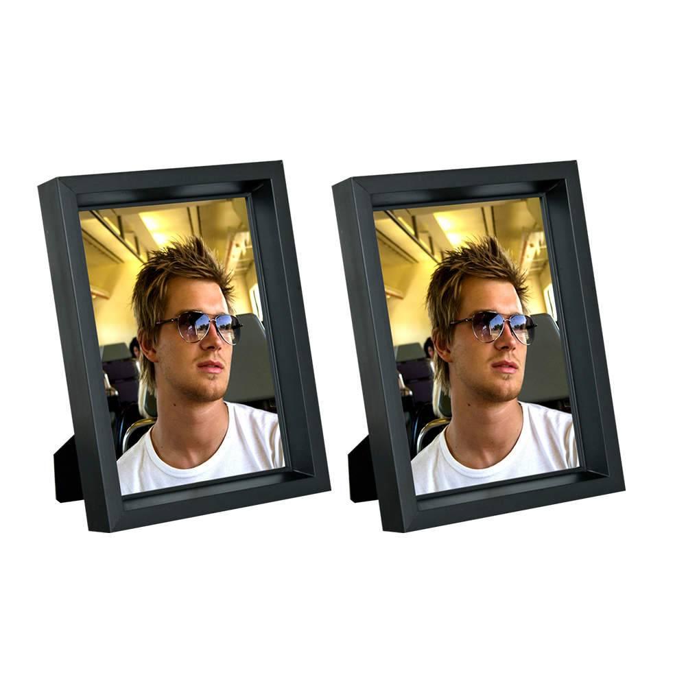 Conjunto 2 Porta-Retratos Moldura Profunda Preta - Foto 15x21 cm - Em MDF e Vidro - 23,5x17,5 cm